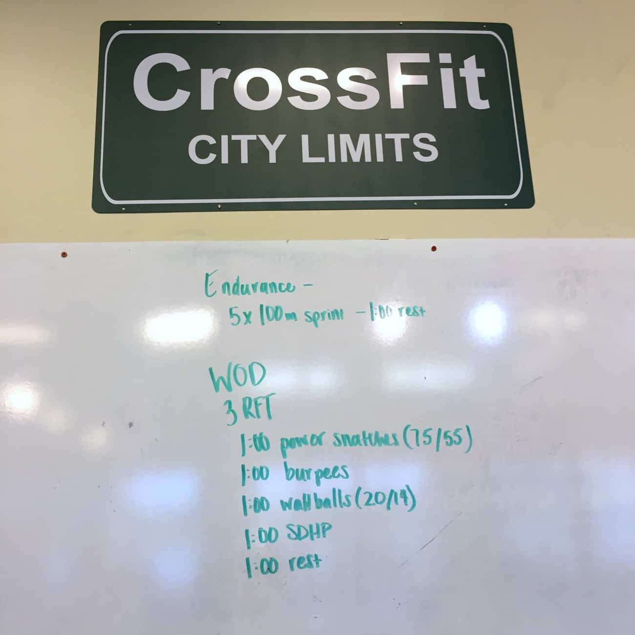 CrossFit WOD with snatches, burpees, wallballs, and high pulls