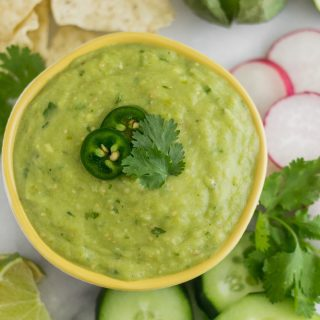 Blender Roasted Tomatillo Avocado Salsa