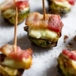 Crispy Brussel Sprouts with Bacon and Cheese Pinterest image