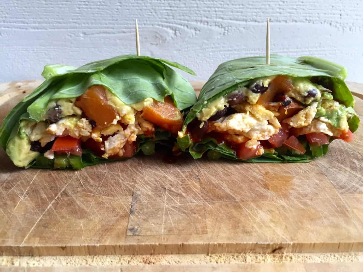 Breakfast Burrito Collard Wrap