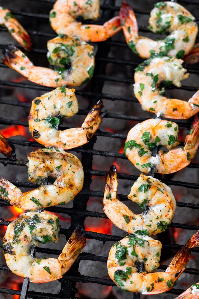 Grilled shrimp skewers on the grill.