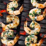Grilled shrimp skewers Pinterest image