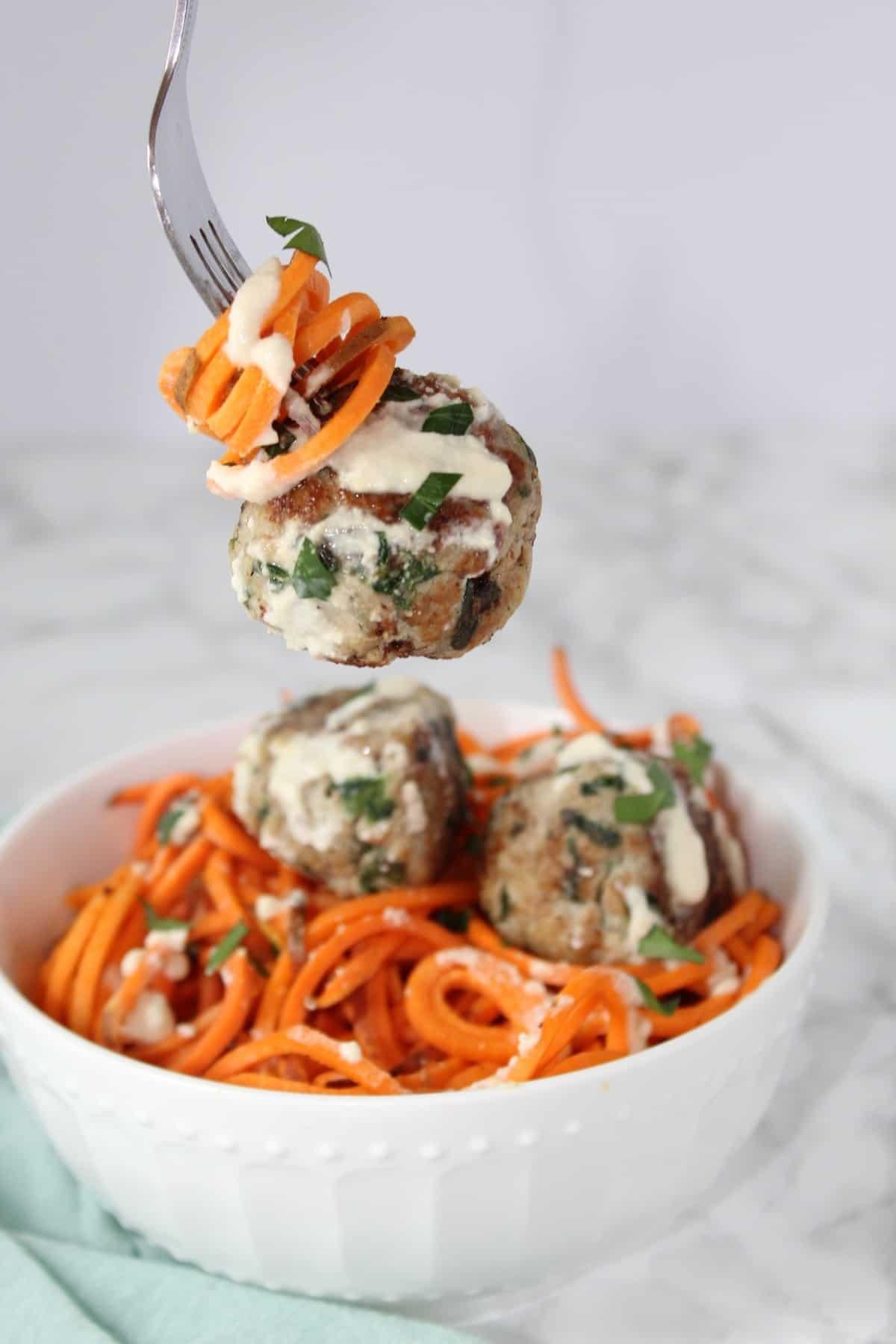 Spinach & Artichoke Chicken Meatballs
