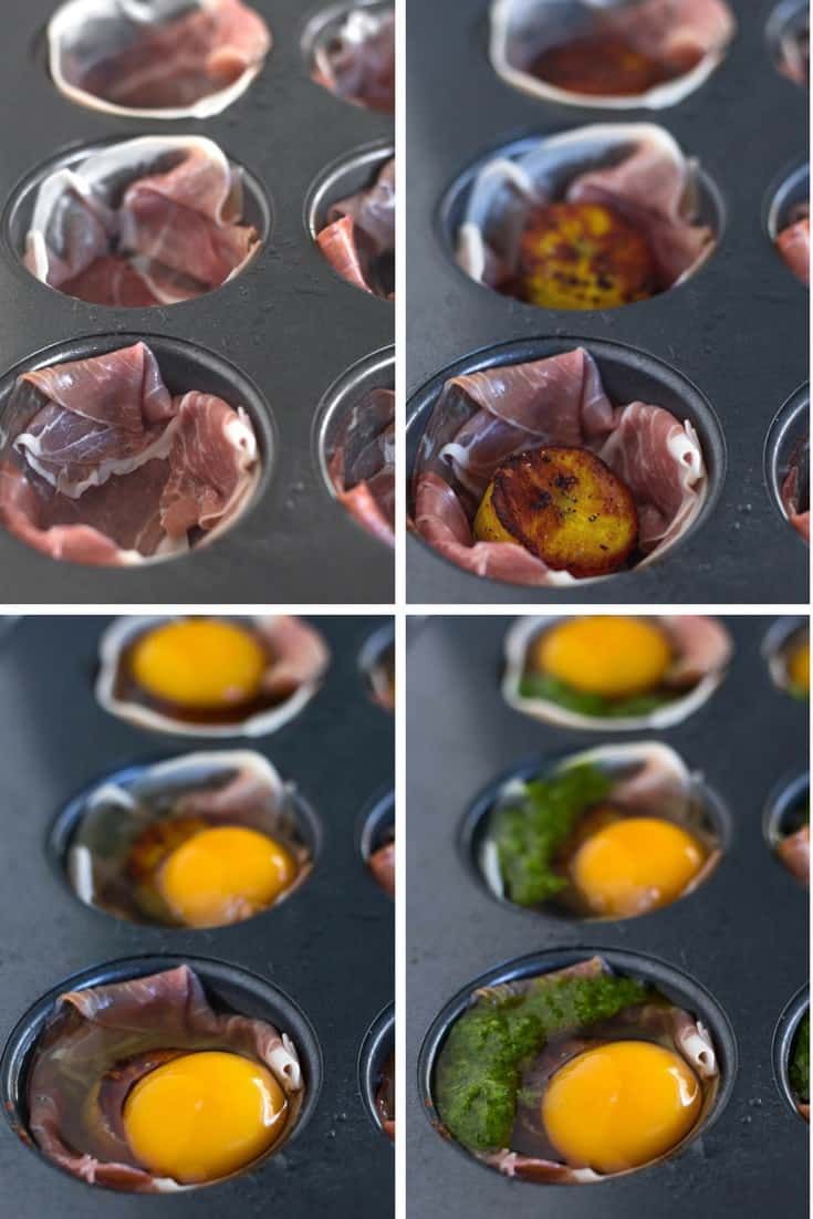 4 pictures of making the prosciutto egg cups - adding the prosciutto, adding the plantains, adding the eggs, and adding the chimichurri
