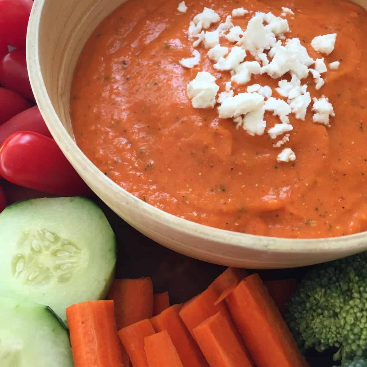 Roasted Red Pepper Dip with Feta & Basil