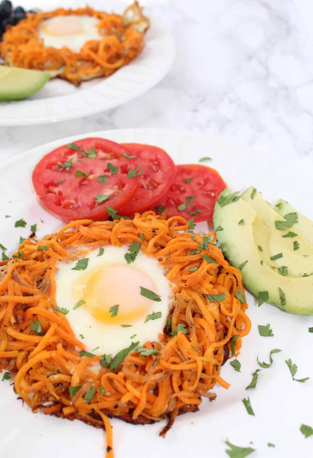 Spiralized Sweet Potato Egg in a Hole