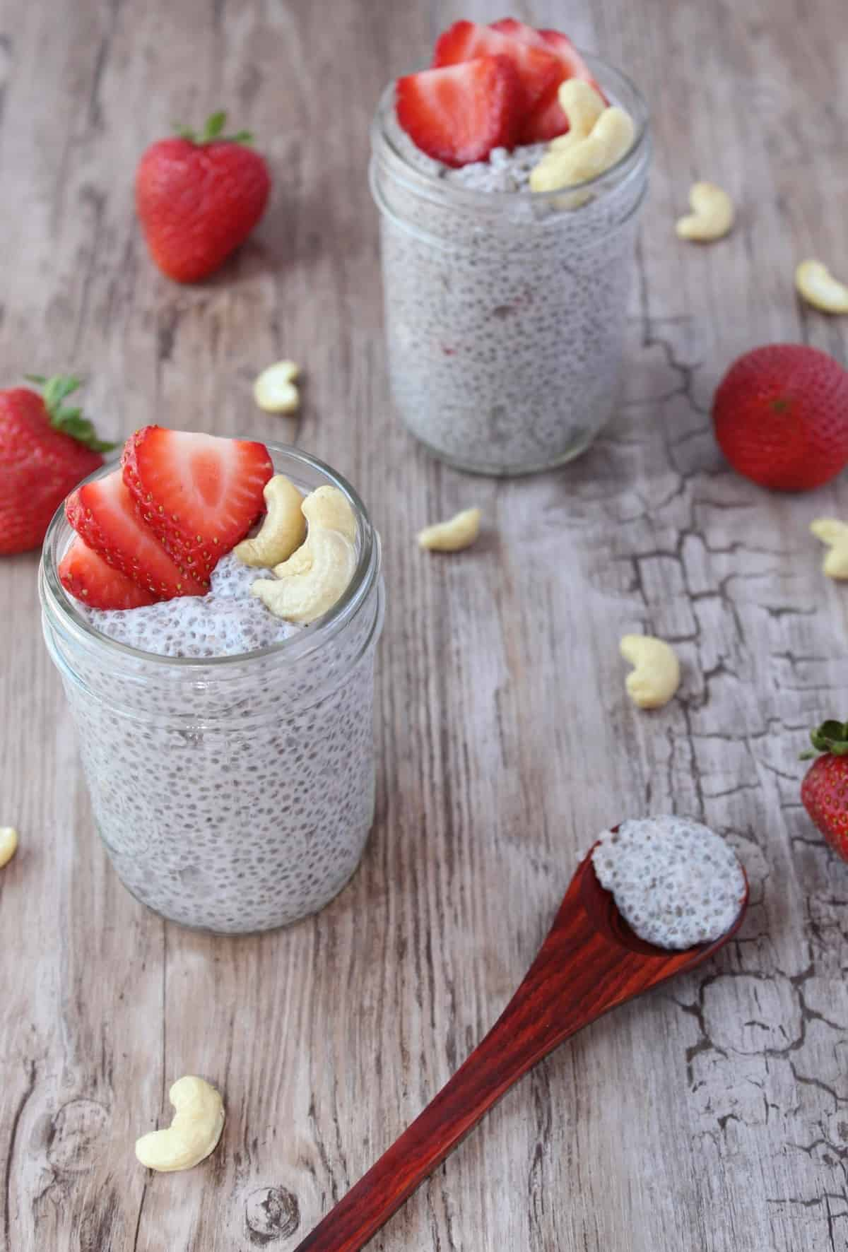 Strawberry Cashew Chia Pudding