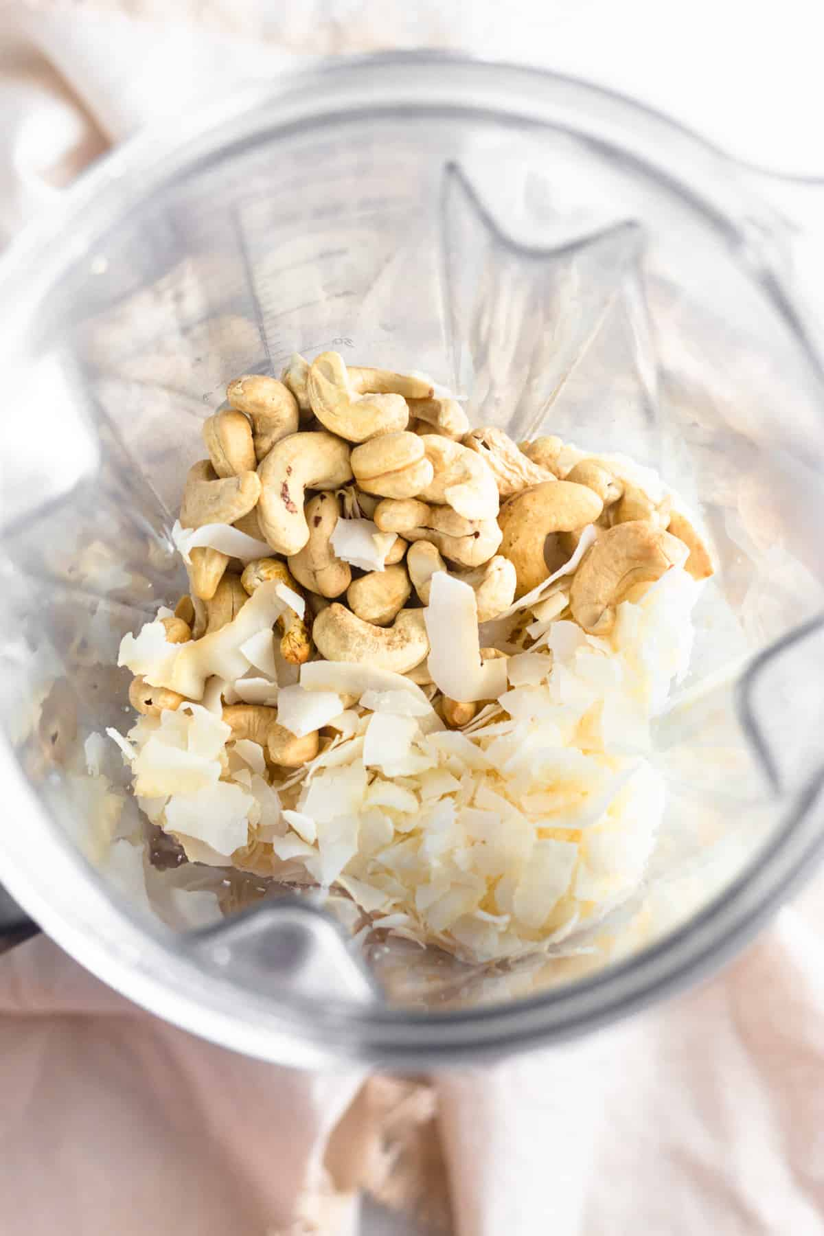 A blender filled with roasted cashews and coconut flakes