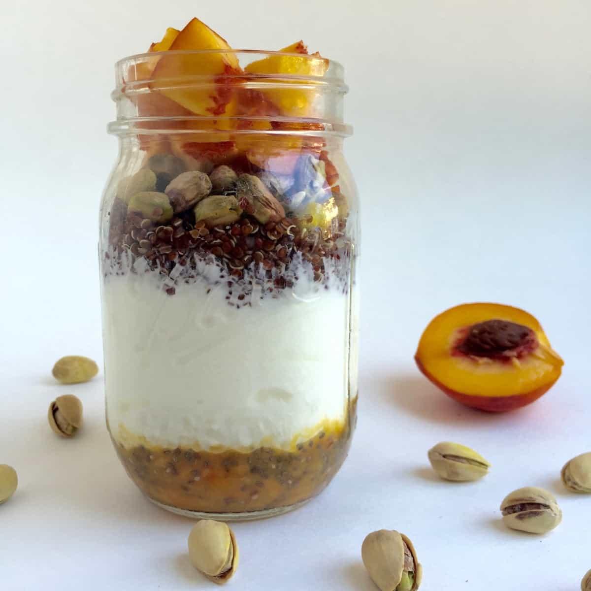 Quinoa Pistachio Peach Yogurt Parfait