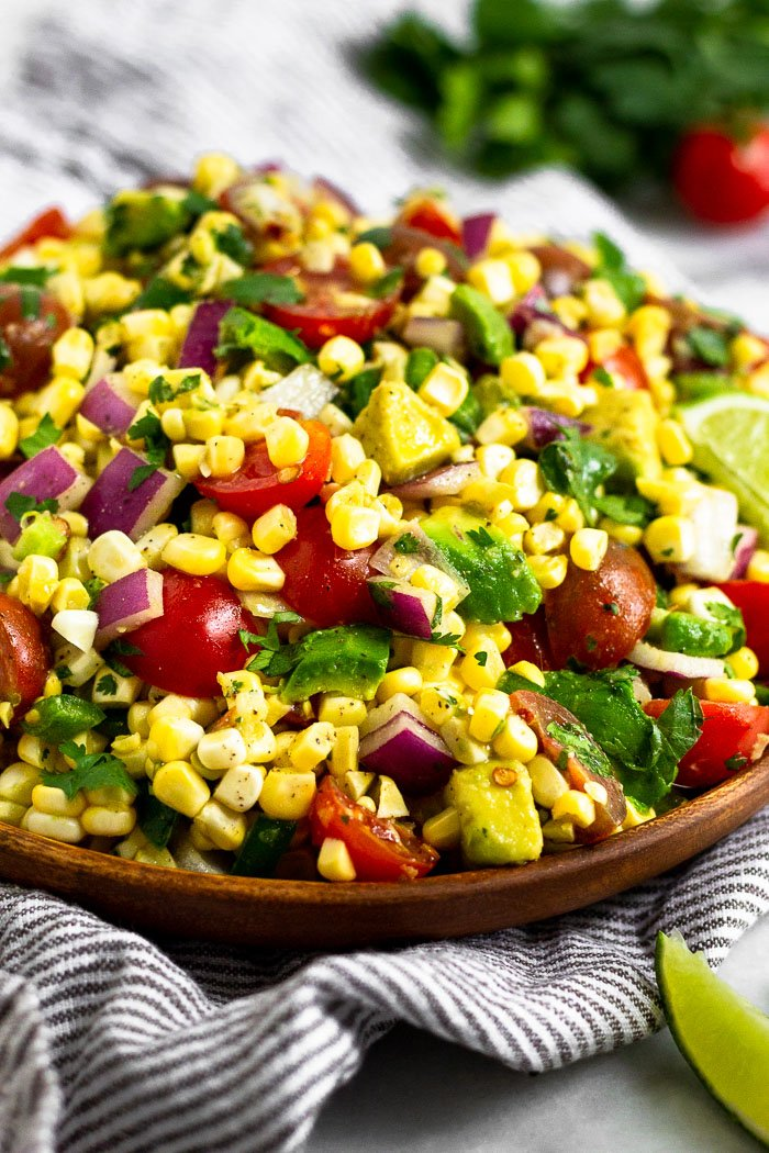 Raw Summer Corn Salad with Tomato & Avocado - Eat the Gains
