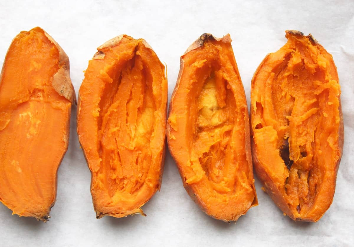 Buffalo Chicken Twice Baked Sweet Potatoes