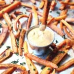 Healthy Carrot Fries with Curry Dipping Sauce