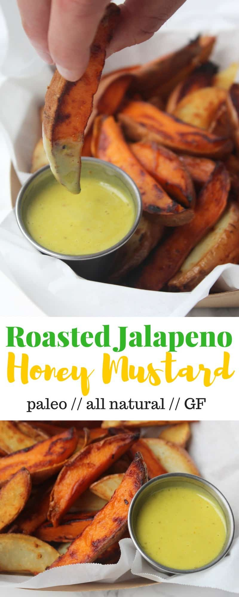 Take up your typical salads, veggies, and dipping needs with this kicked up Roasted Jalapeño Honey Mustard made from wholesome ingredients - Eat the Gains