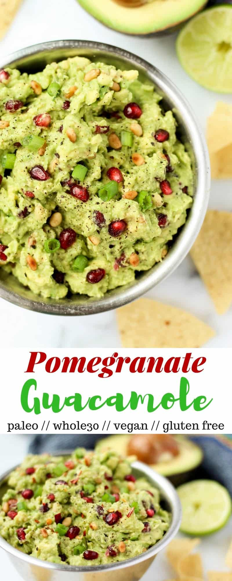 An easy & festive appetizer, this Pomegranate Guacamole comes together in 5 mins and is vegan, paleo, dairy and gluten free, & Whole30 approved! - Eat the Gains