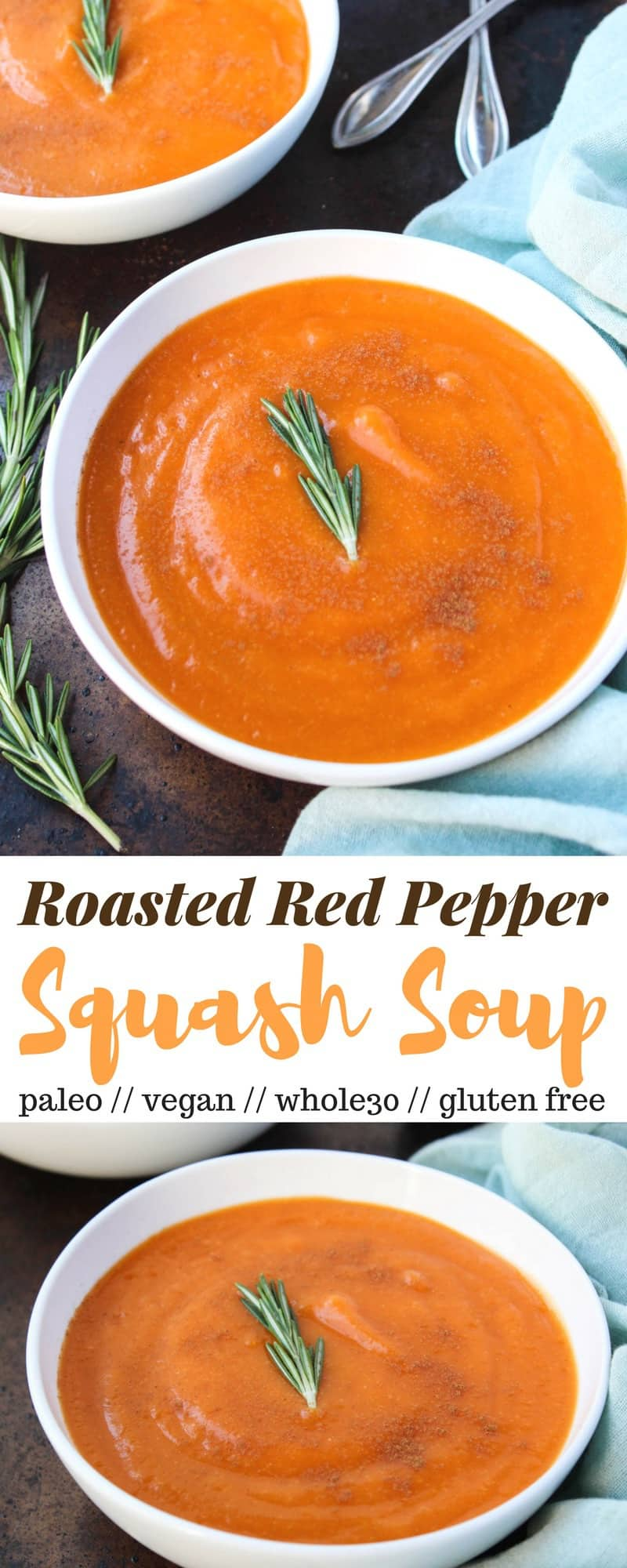 An easy, creamy veggie based soup, this Roasted Red Pepper & Squash Soup is perfect for chilly nights. A few ingredients make it vegan, paleo, dairy free, and Whole30 compliant - Eat the Gains