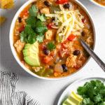 Chicken Fajita Soup Pinterest image