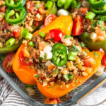 Whole30 Stuffed Peppers Pinterst image