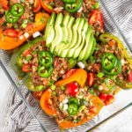 Beef and Rice Stuffed Peppers Pinterest image