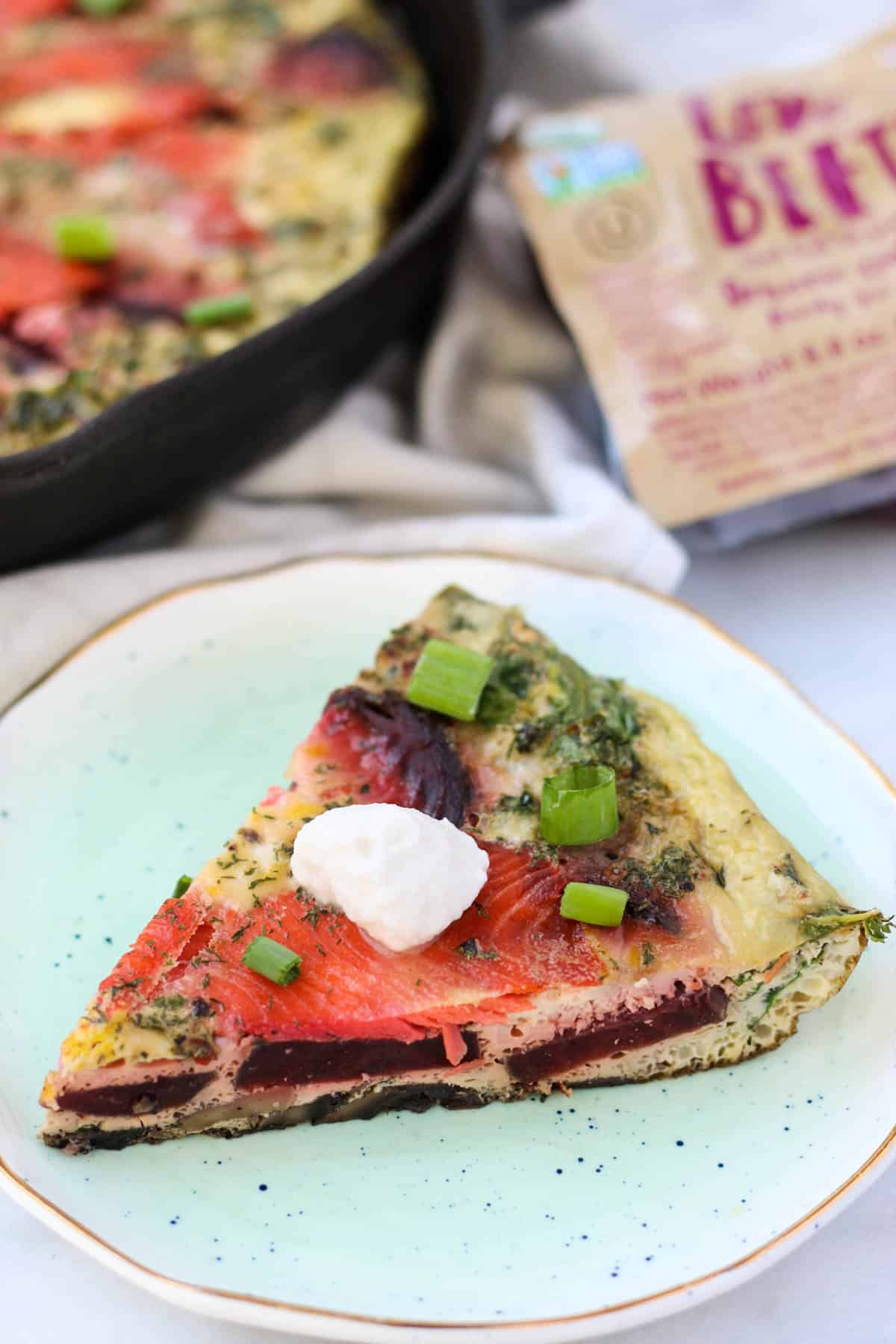 An easy and nutrient packed breakfast, this Beet & Smoked Salmon Frittata calls for one pan, less than 30 minutes, and is paleo, Whole30, and dairy free! - Eat the Gains