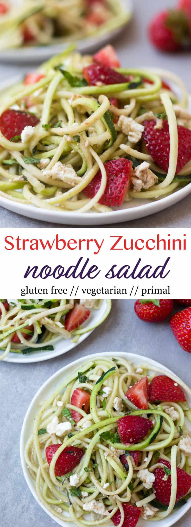 This Strawberry Zucchini Noodle Salad comes together in less than 10 minutes and makes a healthy, easy, and gluten free summertime dish - Eat the Gains