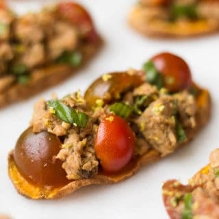 Tuna Bruschetta on Sweet Potato Toast