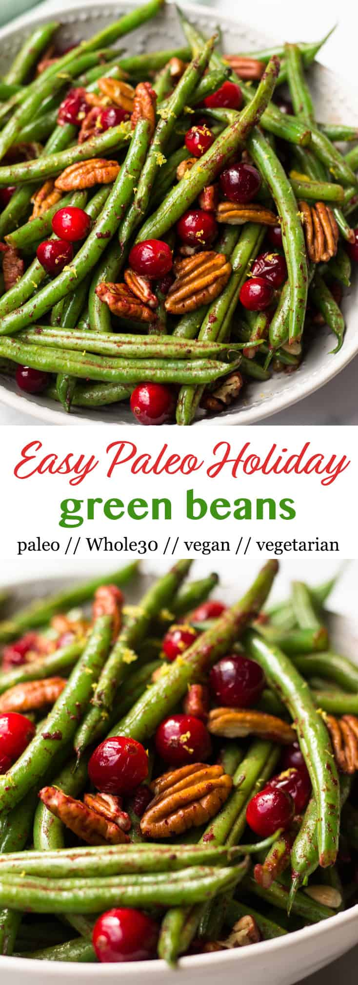 These super easyPaleo Holiday Green Beans come together in less than 10 minutes and make the perfect side to your main course - paleo, vegan, and Whole30 approved too! - Eat the Gains