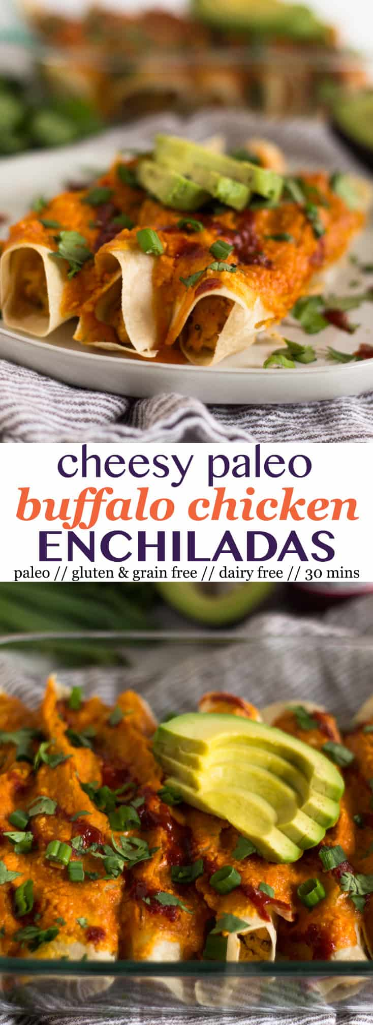 A comforting and healthy spin on enchiladas, these Cheesy Paleo Buffalo Chicken Enchiladas pack the flavor while being gluten, grain, and dairy free! - Eat the Gains