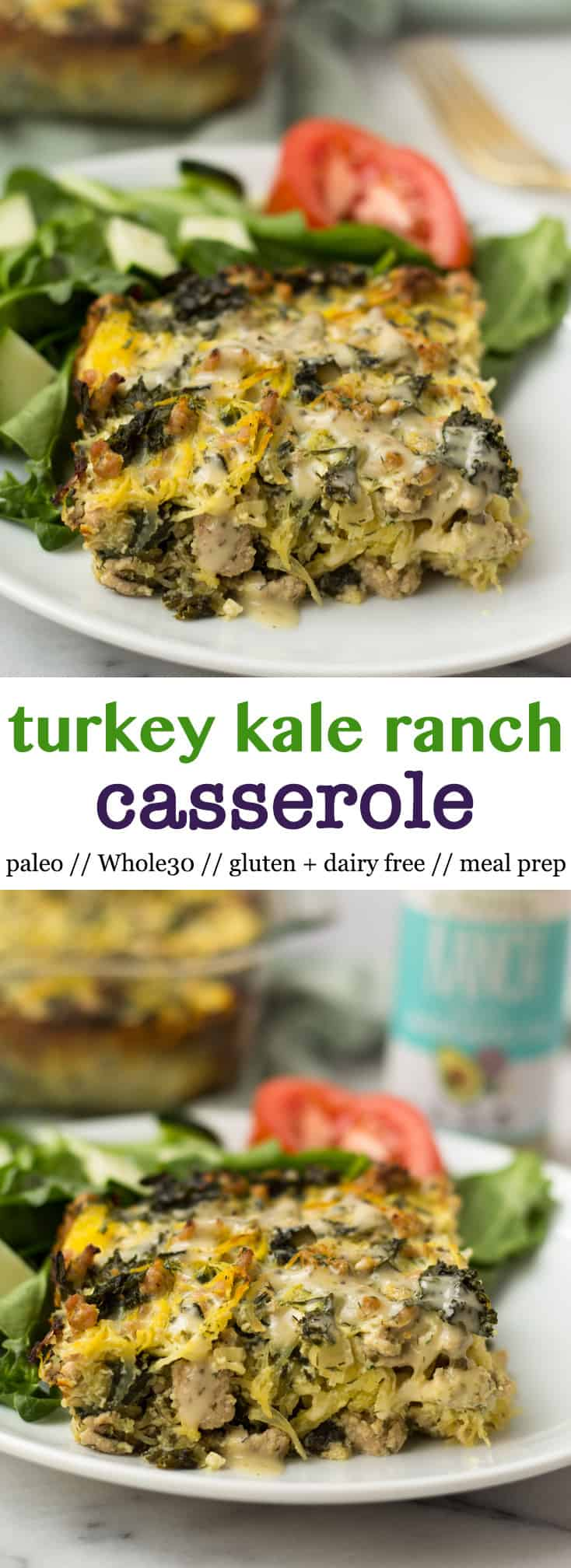 A comforting and hearty dish without the guilt, Turkey Kale Ranch Casserole packs protein & healthy fats, is great for meal prep, & is paleo, gluten & dairy free, & Whole30 approved - Eat the Gains