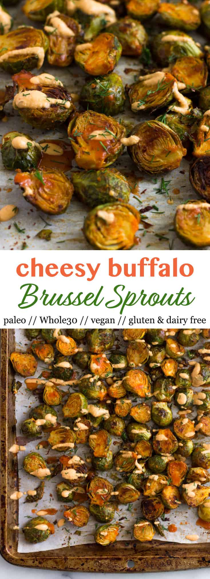 Cheesy Buffalo Brussel Sprouts Pinterest image