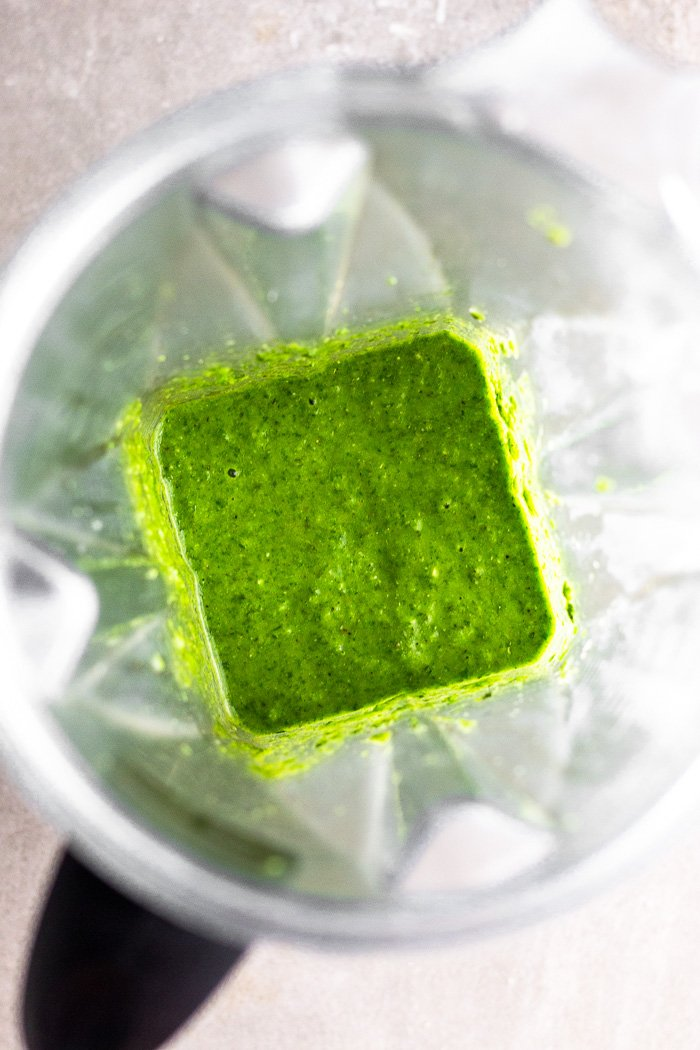 Blended up spicy chimichurri sauce in a blender.