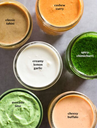 Overhead shot of 6 whole30 sauces in different jars with text overtop each one explaining what they are.