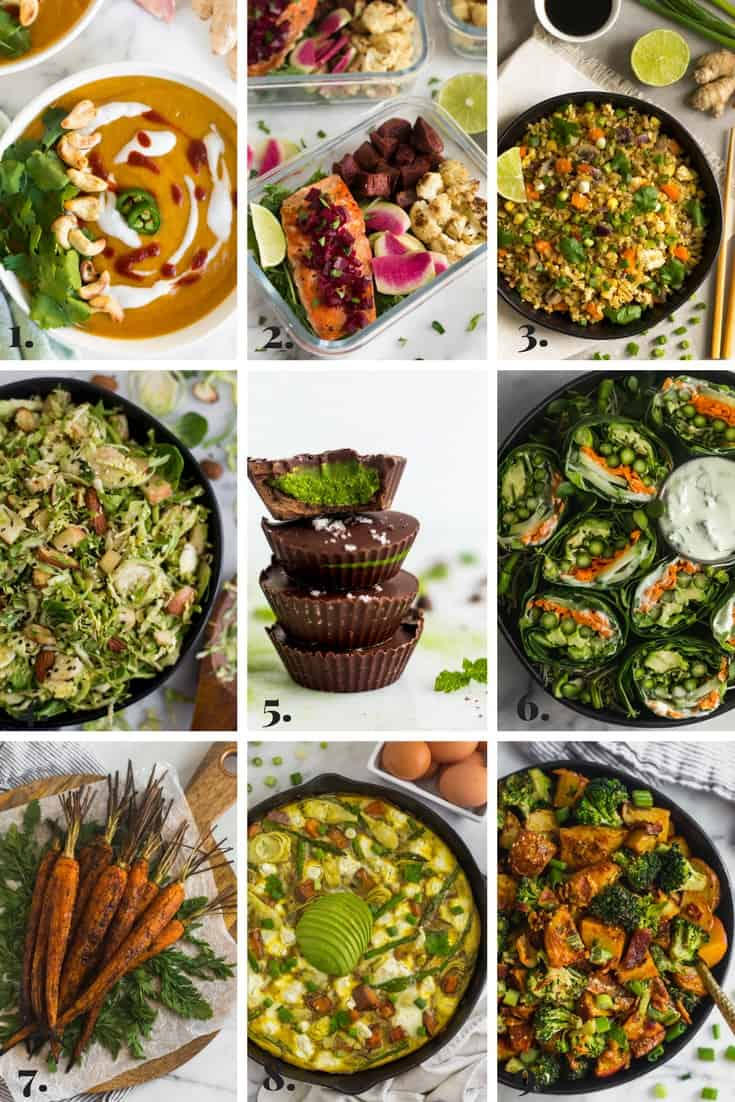 Collage of all the recipes made on Eat the Gains in March