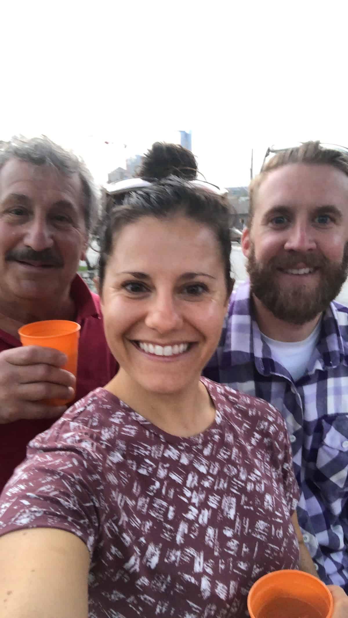Three people at a mezcal tasting