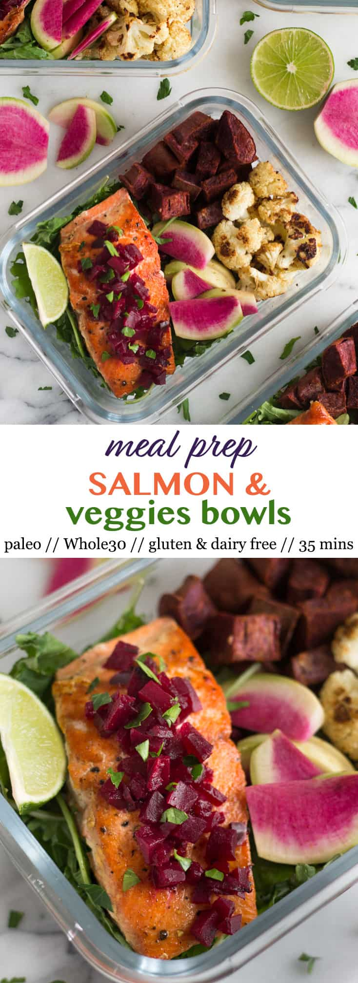 Pinterest image for Meal Prep Salmon and Veggies Bowls