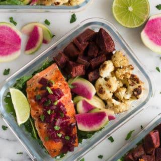 Meal Prep Salmon and Veggies Bowls