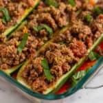Whole30 Italian Beef Zucchini Boats Pinterest image