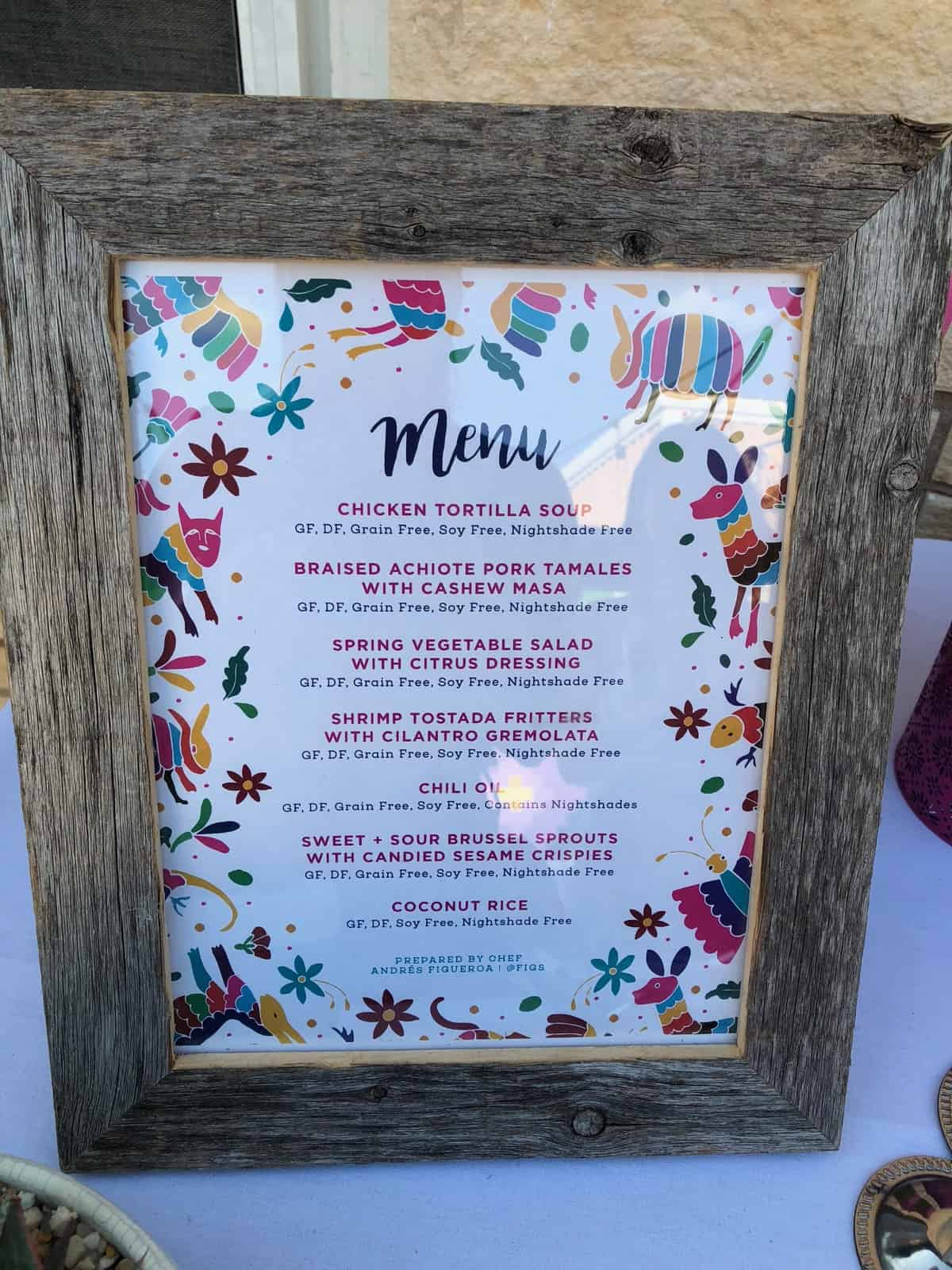 Dinner menu in a wooden frame