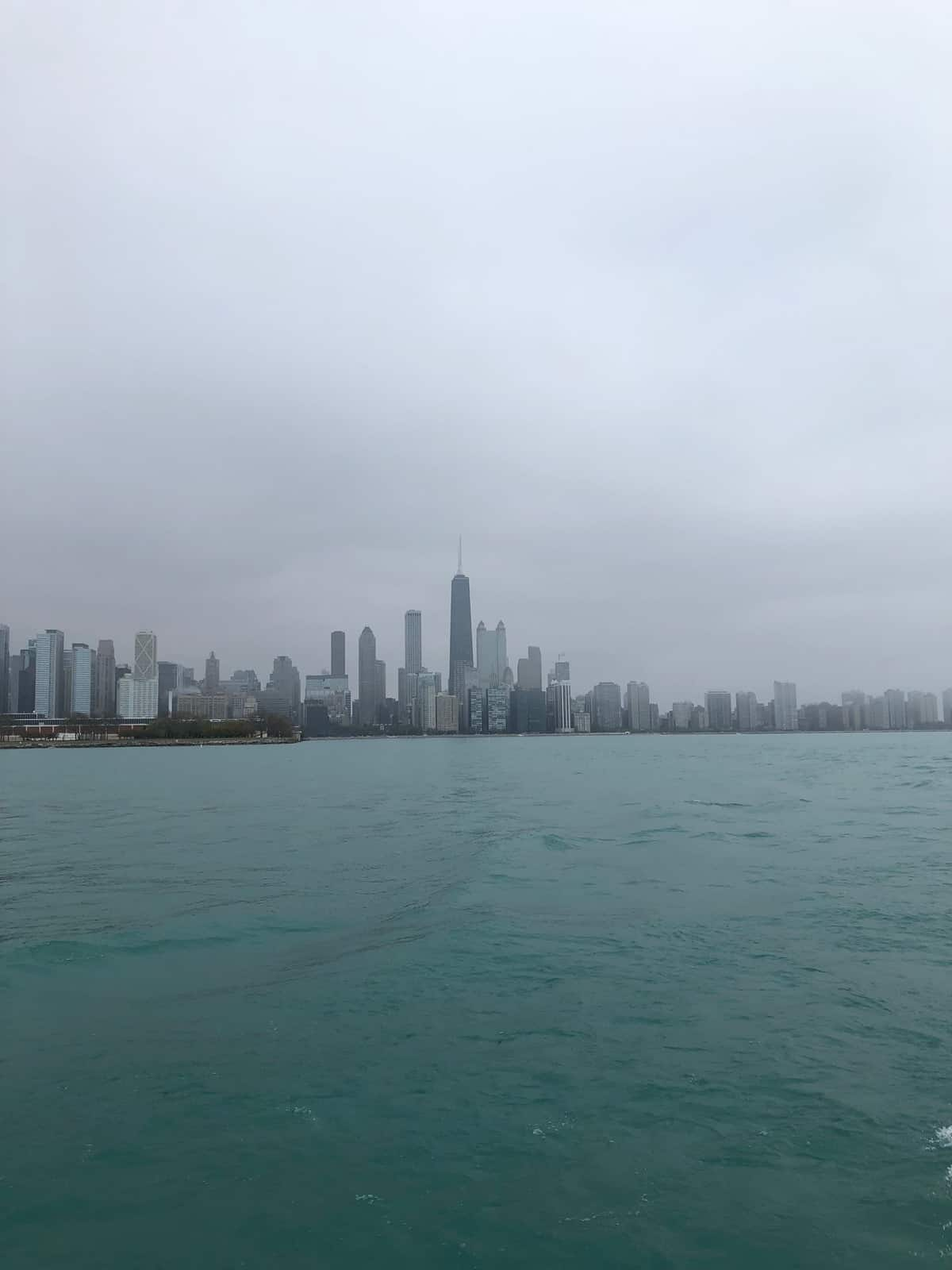Chicago skyline from out on the river on a boat