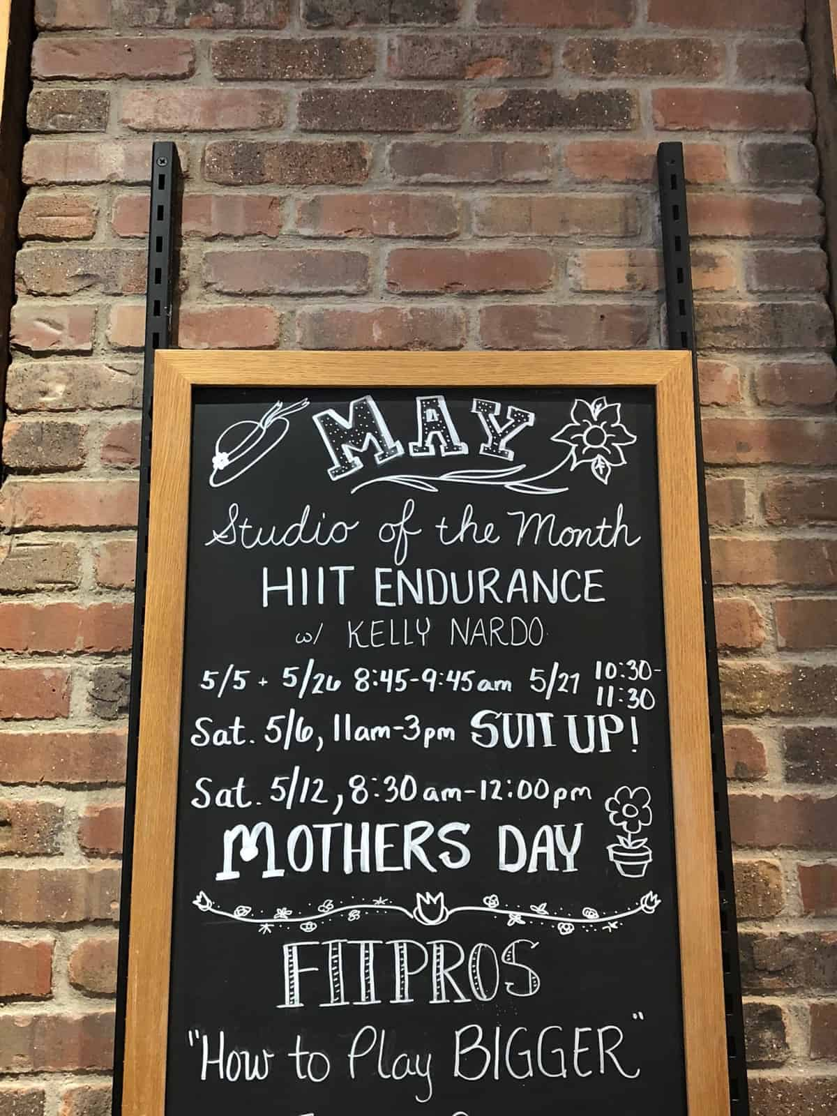 Sign of event in May at Athleta