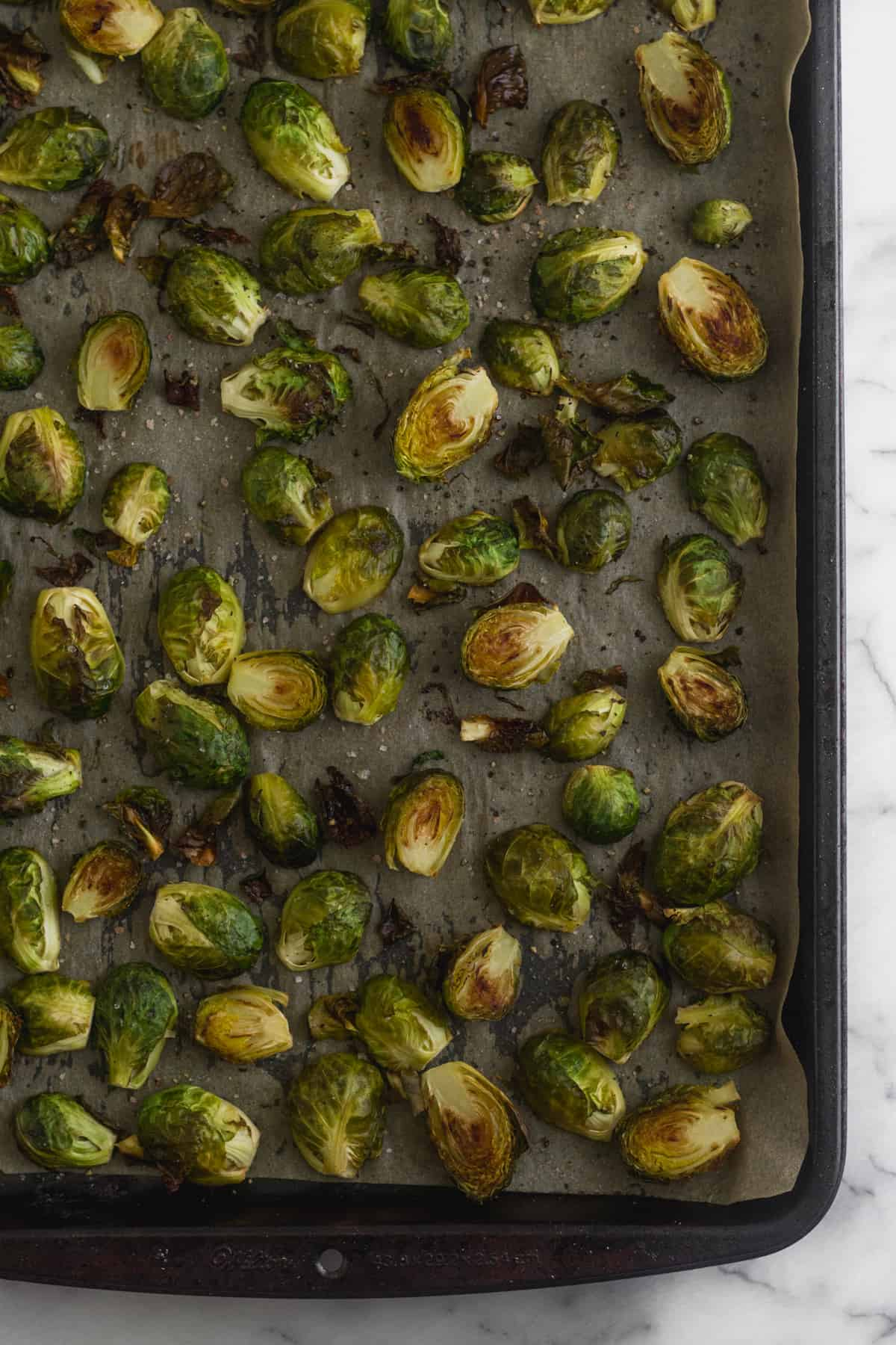 Large pan of roasted brussels sprouts