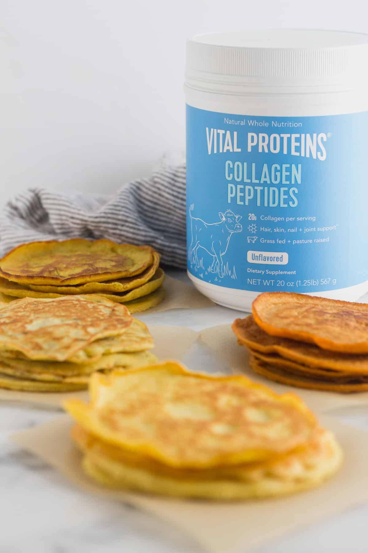 4 different kinds of paleo protein tortillas surrounding a container of collagen peptides