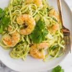 Whole30 Tomatillo Salsa Shrimp Zucchini Noodles Pinterest Image