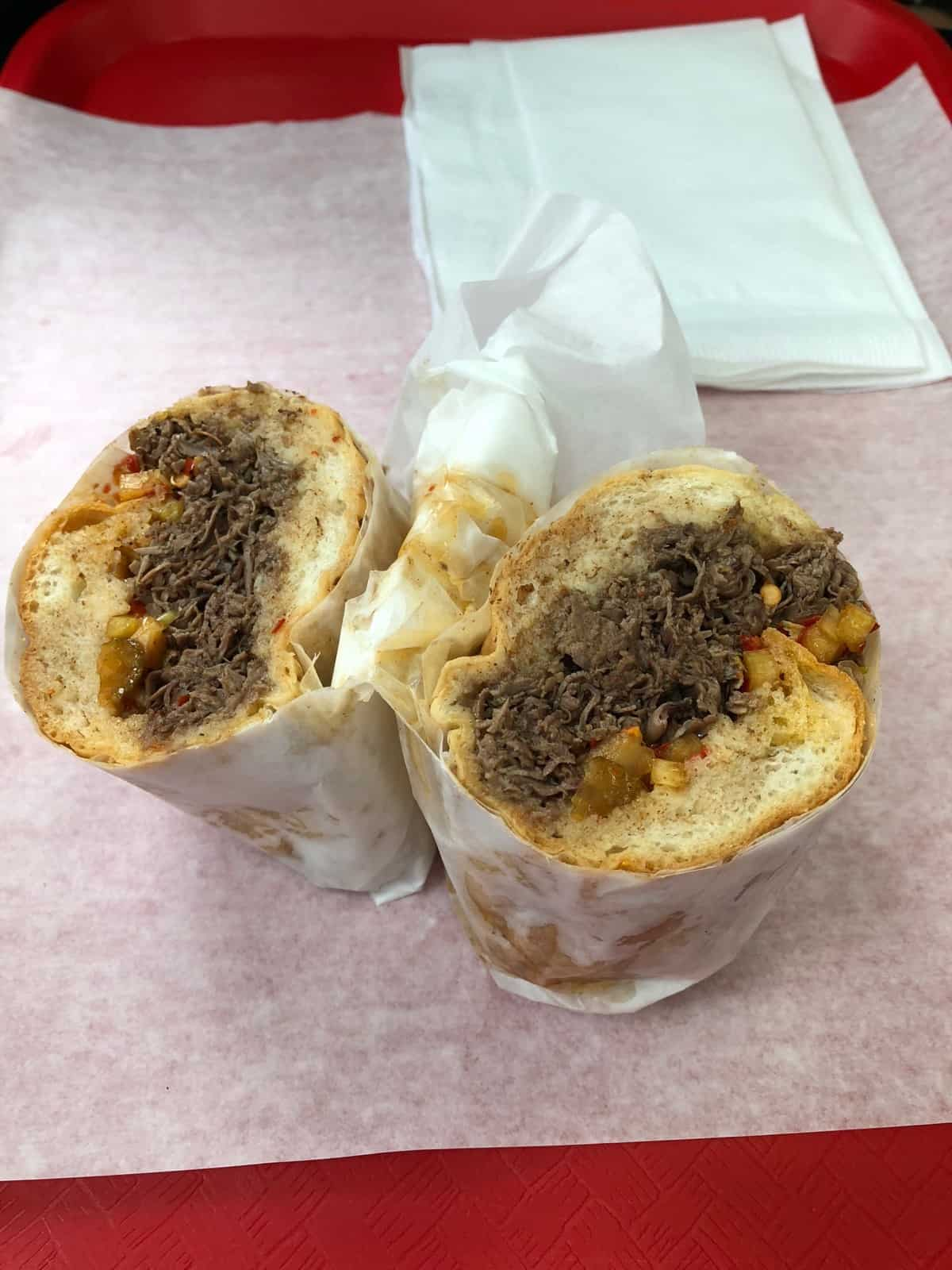 Italian beef sandwich from Al's Beef in Chicago, IL