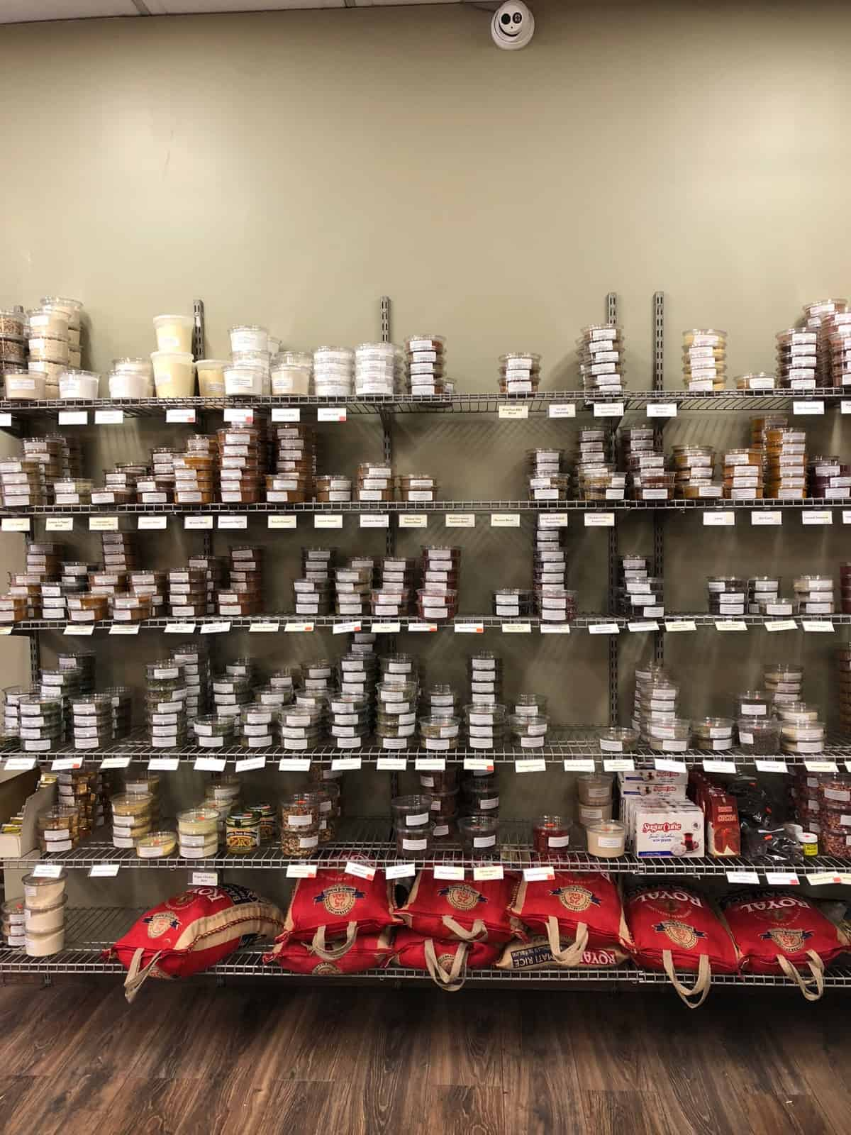 Wall of spices at Middle Eastern Bakery and Grocery in Chicago, IL