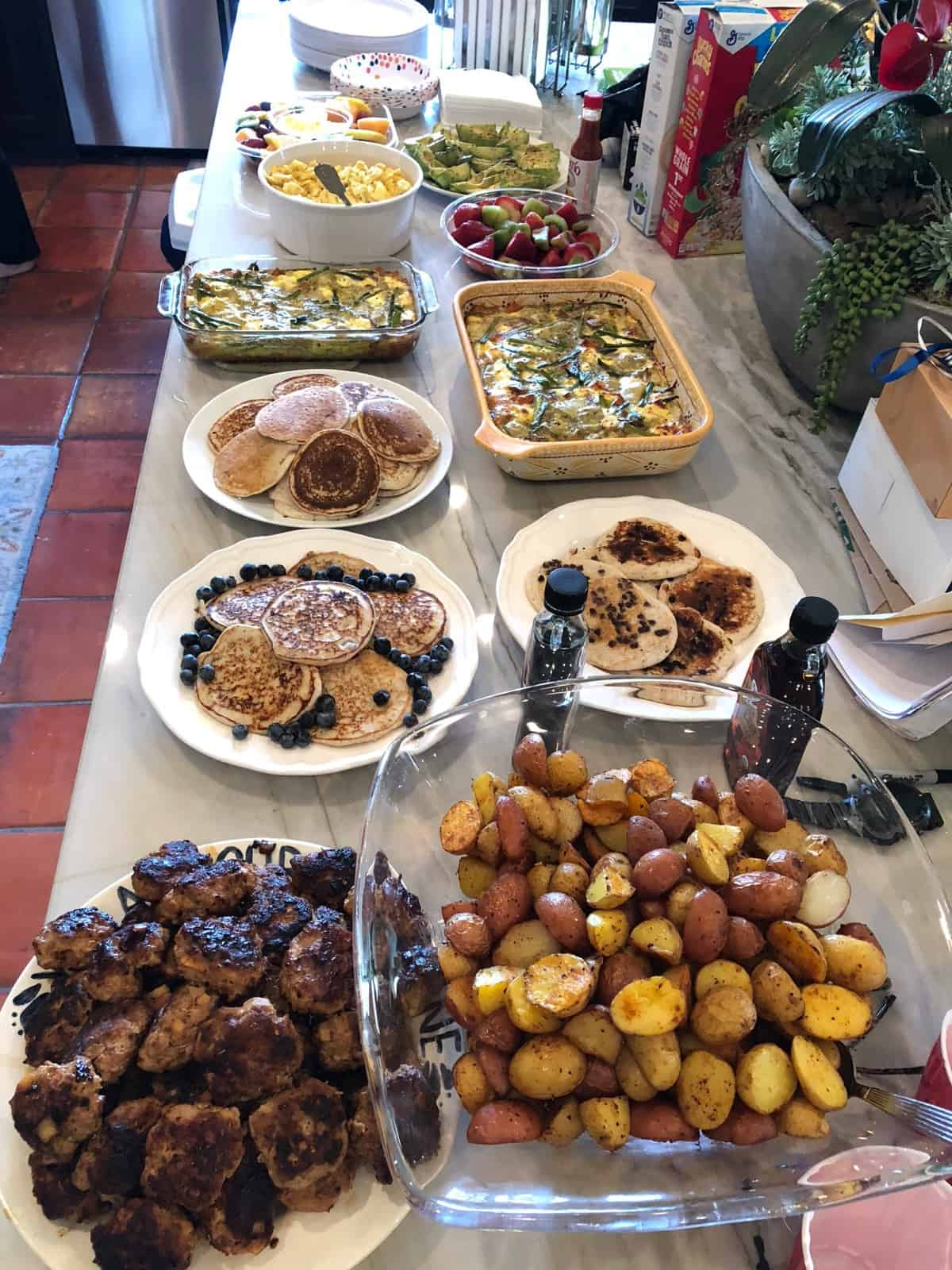 Large brunch buffet on a counter top