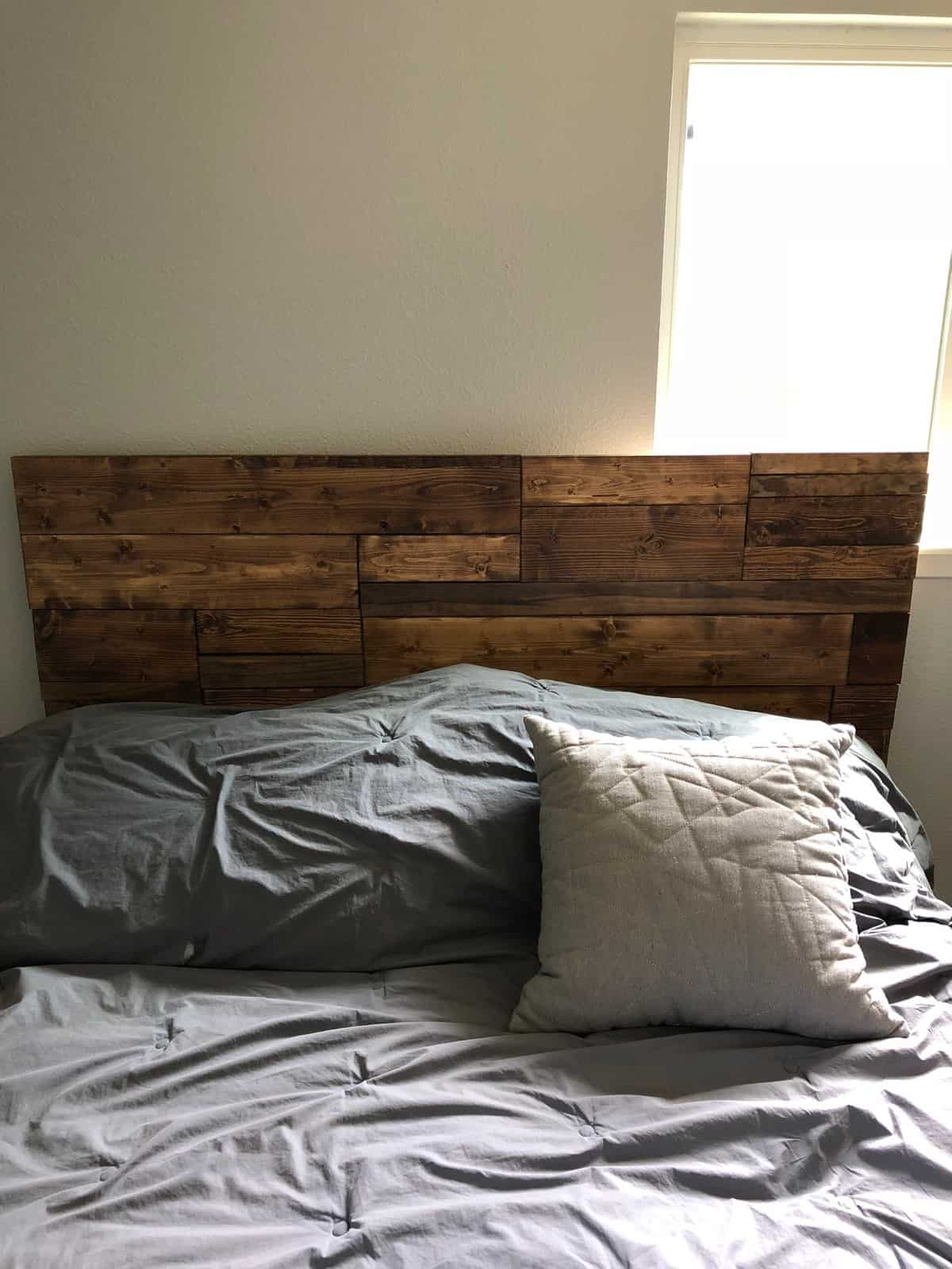 DIY homemade wooden headboard