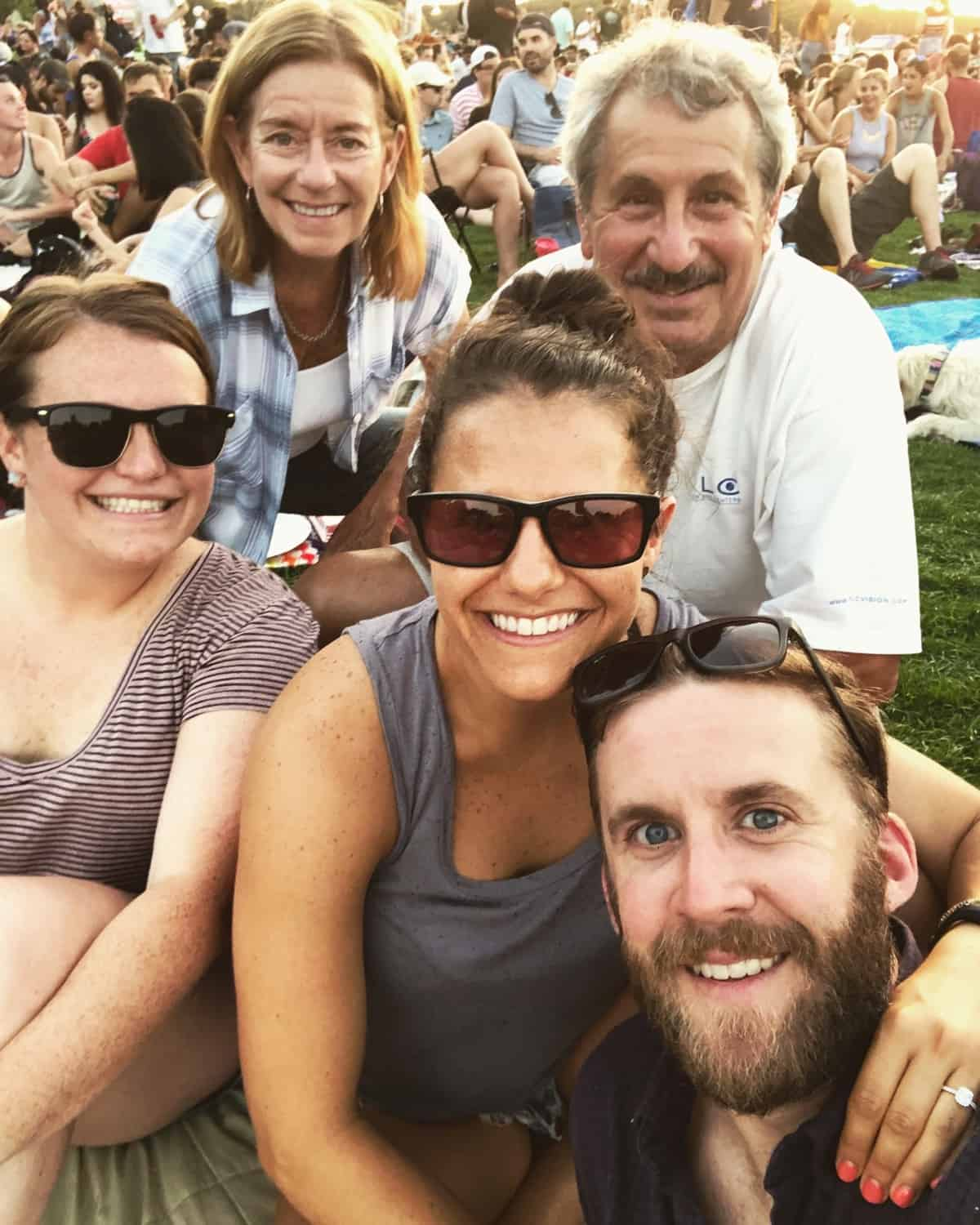 Family outside at Blues on the Green in Austin, TX