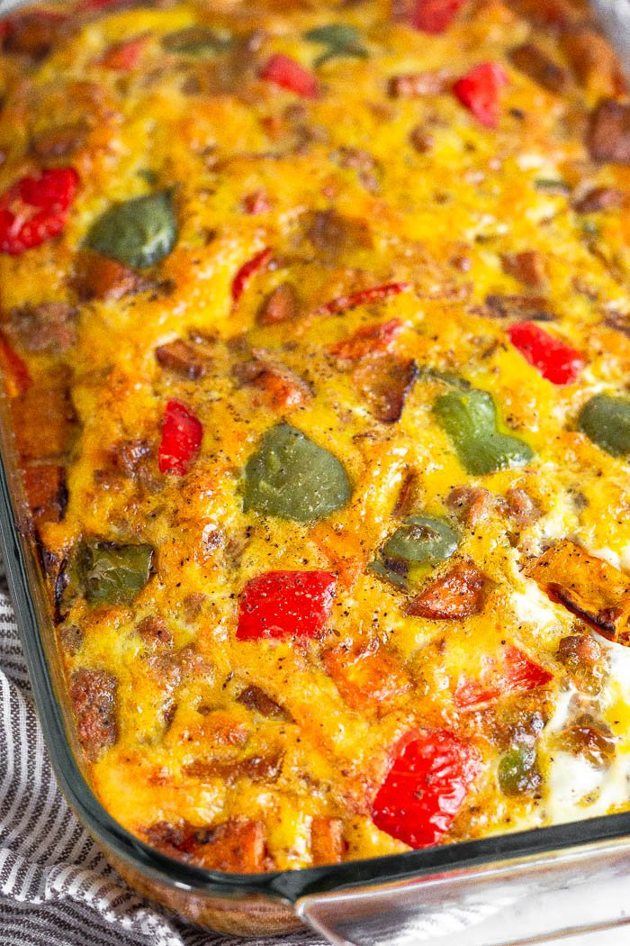 Close up of Whole30 breakfast casserole with sausage, sweet potatoes, and peppers.