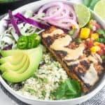 Whole30 Fish Taco Bowls Pinterest image