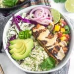 Whole30 Fish Taco Bowls Pinterest image